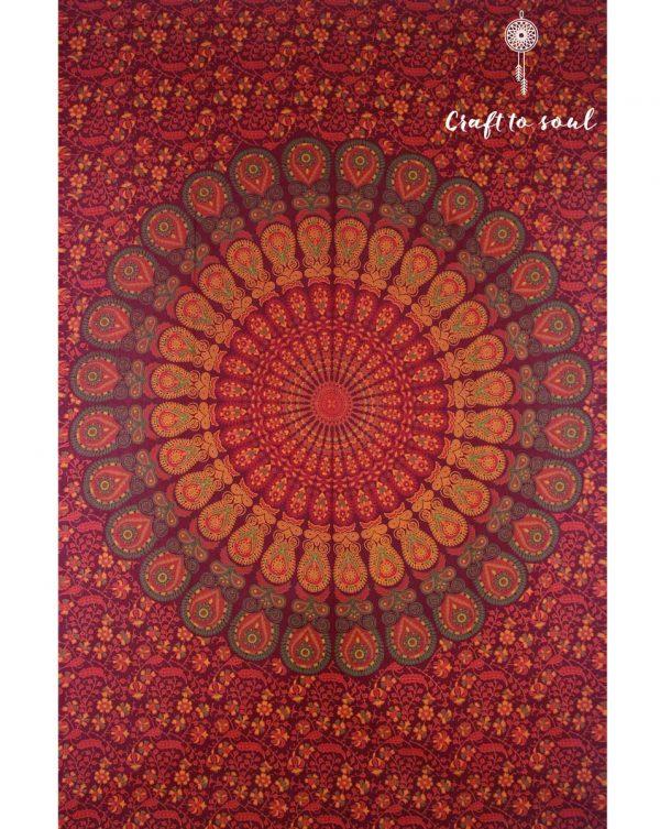 Barmeri Peacock Mandala Tapestry - Red