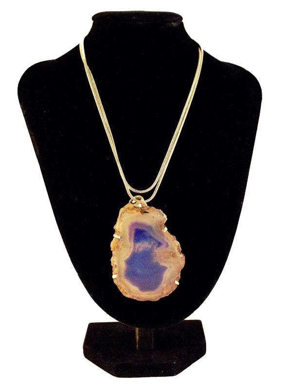 Blue raw geode stone pendant
