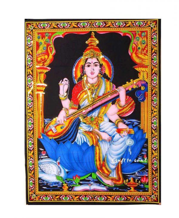 Goddess Saraswati Tapestry Wall Hanging