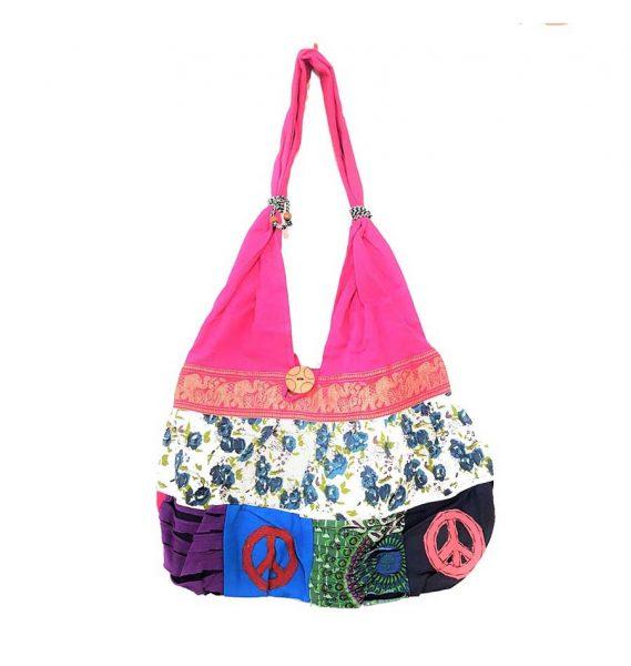 Hippie boho tote bag pink