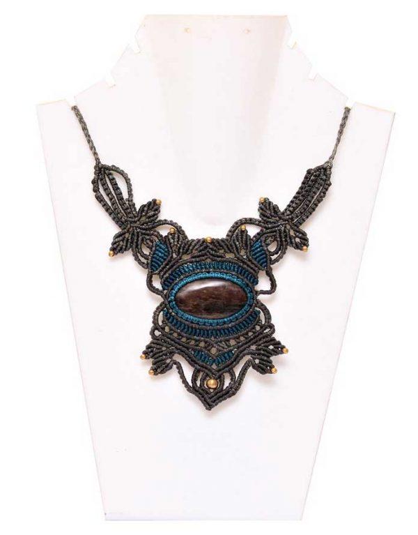 Unisex Macrame Crystal Necklace