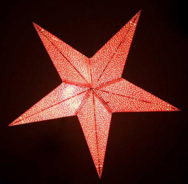 Star Glitter Lantern Red Light Up