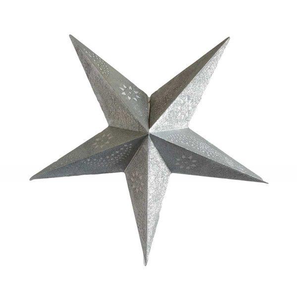 Star Glitter Lantern Silver