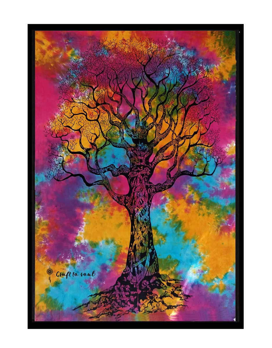 Multi Color Tree Of Life Cotton Wall Hanging Tapestry Poster Beautiful Design