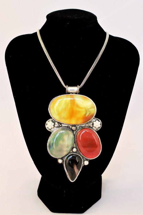 Vintage Multi-Gemstones Pendant necklace